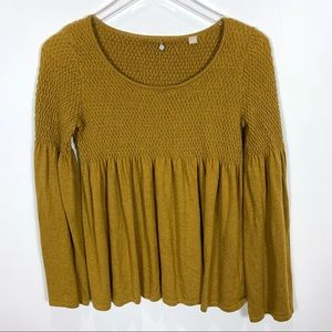Anthropologie Knitted Knotted Flounce hem sweater
